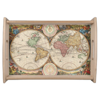 Antique World Map in two Hemispheres Serving Tray