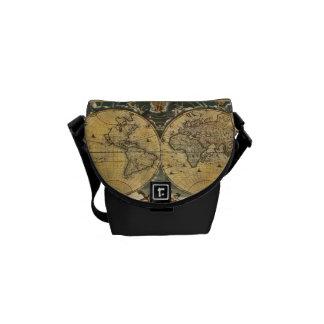 Antique World Map J Blaeu 1664 Courier Bags