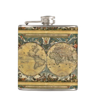Antique World Map - Joan Blaeu - 1664 Hip Flask