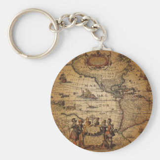 Antique World Map Basic Round Button Key Ring