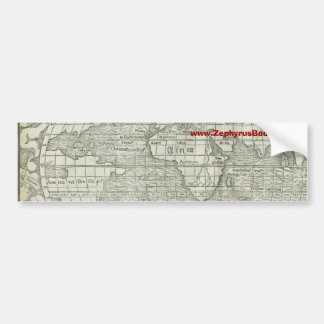 Antique World Map - Mid 1500's - Sebastian Münster Bumper Sticker