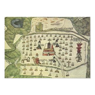 Antique World Map; Montezuma Aztec Empire, 1577 13 Cm X 18 Cm Invitation Card
