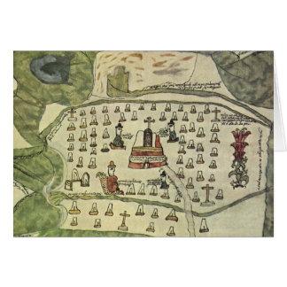 Antique World Map; Montezuma Aztec Empire, 1577 Greeting Card