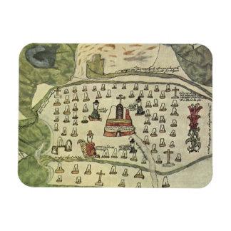 Antique World Map; Montezuma Aztec Empire, 1577 Rectangular Photo Magnet