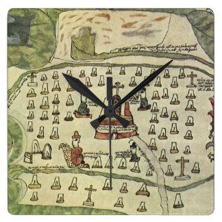 Antique World Map; Montezuma Aztec Empire, 1577 Wall Clock