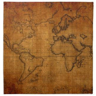 Antique World Map Napkin