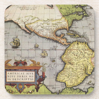 Antique World Map of the Americas 1570 Beverage Coaster