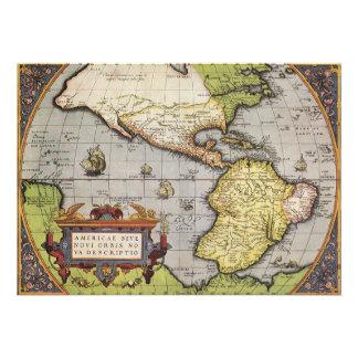 Antique World Map of the Americas, 1570 Custom Invites