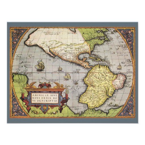 Antique World Map of the Americas, 1570 Personalized Invite