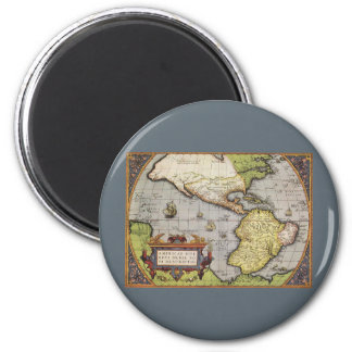 Antique World Map of the Americas, 1570 Magnets