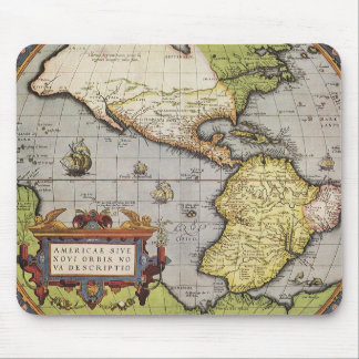Antique World Map of the Americas 1570 Mouse Pad