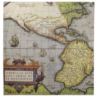 Antique World Map of the Americas, 1570 Napkin