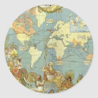 Antique World Map of the British Empire, 1886 Classic Round Sticker