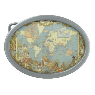 Antique World Map of the British Empire, 1886 Oval Belt Buckle