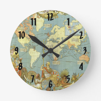Antique World Map of the British Empire, 1886 Round Clock