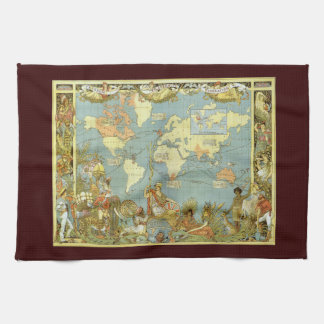 Antique World Map of the British Empire, 1886 Tea Towel