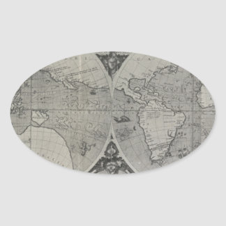 Antique World Map - Old maps of Asia Oval Sticker