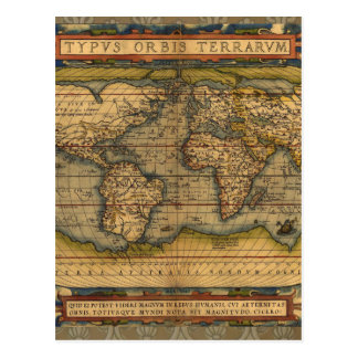 Antique World Map Ortelius Vintage Postcard