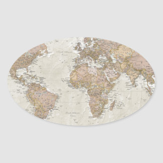Antique World Map Oval Sticker
