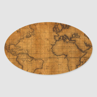 Antique World Map Oval Sticker