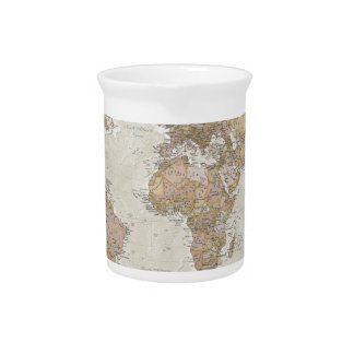 Antique World Map Pitcher