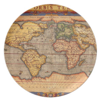 Antique World Map Plate
