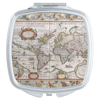 Antique World Map pocket mirror