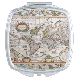 Antique World Map pocket mirror Compact Mirrors