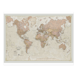 Antique World Map Postcard