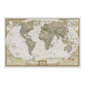 Antique World map poster print