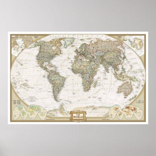 Antique World map poster print