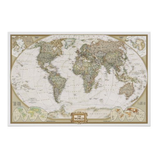 Antique world map poster print zazzle antique world map poster print gumiabroncs Gallery