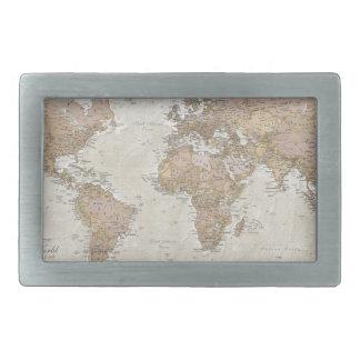 Antique World Map Rectangular Belt Buckle