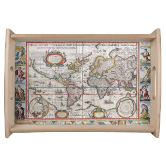Antique World Map serving tray