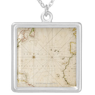 Antique world map silver plated necklace