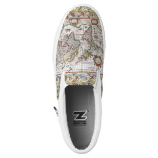Antique World Map slip-on shoes