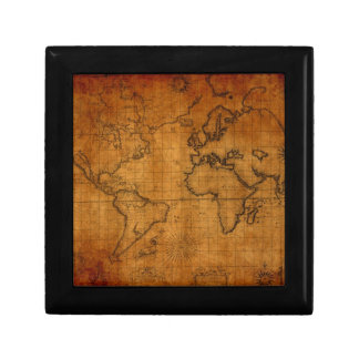 Antique World Map Small Square Gift Box