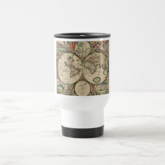 Antique World Map Stainless Steel Travel Mug