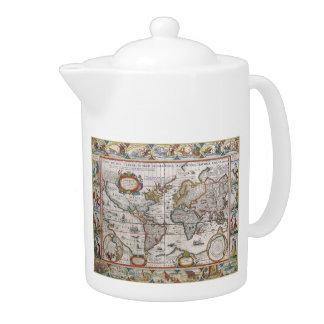 Antique World Map teapot