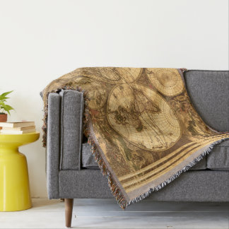 Antique World Map Throw Blanket