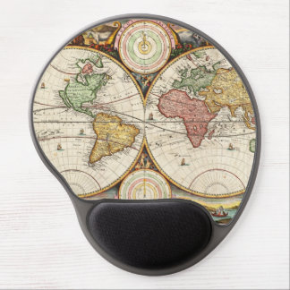Antique World Map Two Hemispheres Ancient History Gel Mouse Mat
