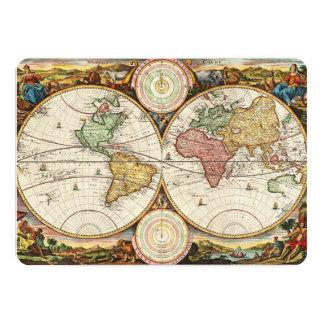 Antique World Map Two Hemispheres Rare Vintage Art Cards