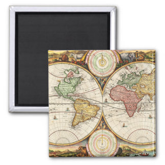 Antique World Map Two Hemispheres Rare Vintage Art Magnet