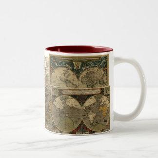 Antique World Map Two-Tone Mug