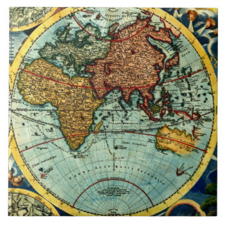 Antique World Map Vintage Art Ceramic Wall Decor Large Square Tile