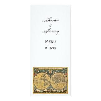 Antique World Map White #2 Menu Cards 10 Cm X 24 Cm Invitation Card