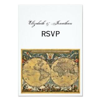 Antique World Map, White BG RSVP 9 Cm X 13 Cm Invitation Card