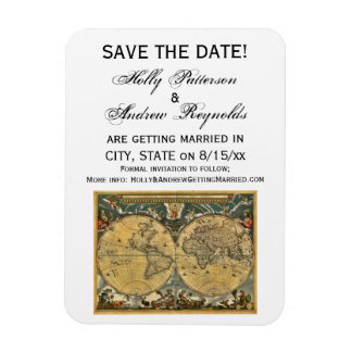 Antique World Map, White BG Save the Date Rectangular Magnet