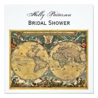 Antique World Map, White BG SQ Bridal Shower 13 Cm X 13 Cm Square Invitation Card