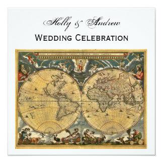 Antique World Map, White BG SQ Wedding 13 Cm X 13 Cm Square Invitation Card